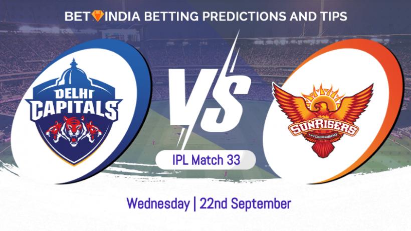 Delhi Capitals vs Sunrisers Hyderabad 33rd Match IPL 2021 Betting Predictions
